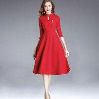 Модные Офисные женские туфли платье Красный связали Блейзер молнии Свадебные Свадебное платье высокое приталенное платье с рукавами 3/4 по
