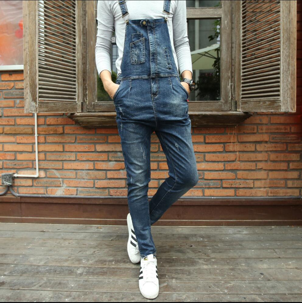 28-34 Fashion Bib Denim Overalls For Men New Long Solid Blue Slim Cowboy Overall Cotton Skinny Overalls Mens Jeans Costumes