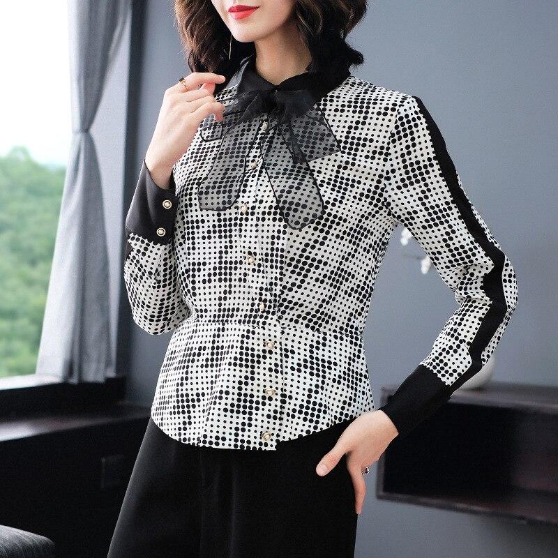 Шифоновое в горошек с бантом, Тонкая блузка с длинными рукавами, новинка 2019 года, женские офисные рубашки весна лето