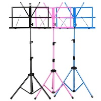 Alloy folding guitar stand carry string instrument music stand height lift blue pink black violin music stand music score shelf