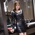 2016 fashion dress mulheres de couro sexy preto apertado pacote hip vestidos femininas de couro falso magro primavera outono vestidos lady lx6007
