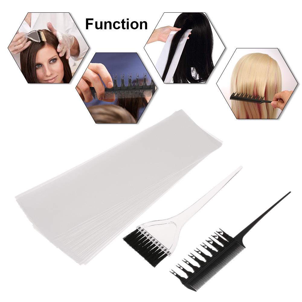 Professional Hair Coloring Dyeing Highlighting Tool Hair Color Comb Applicator Tint Brush Plastic Hair Color Dye Paper Set