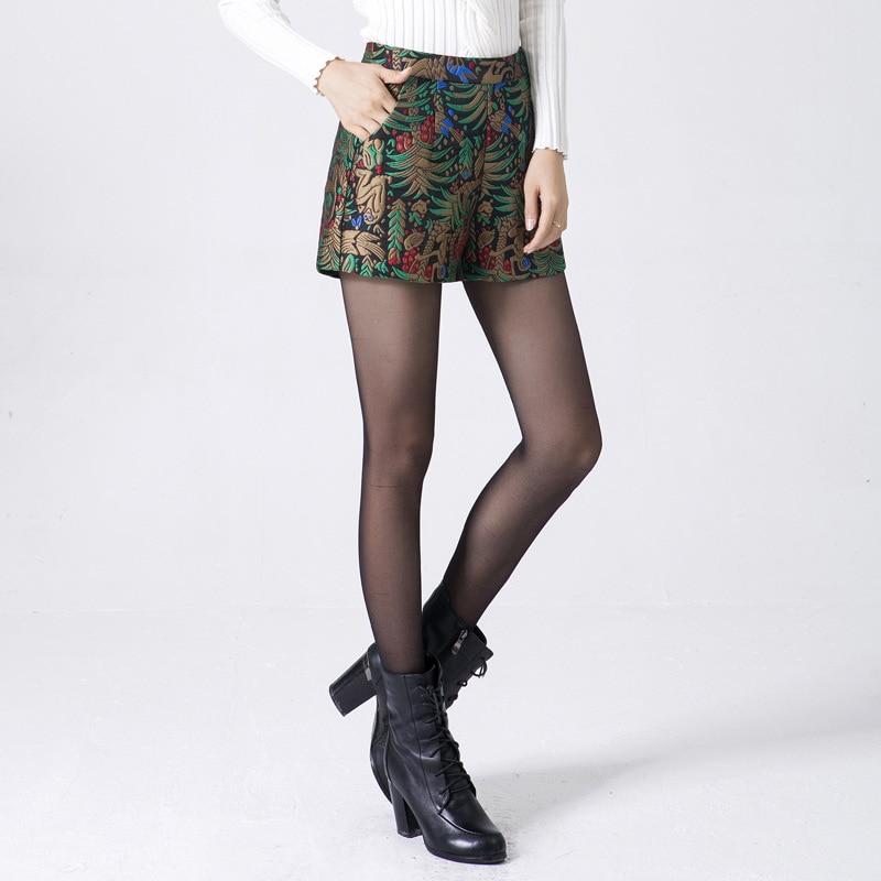 Woman Spring Plus Size Jacquard Wide Leg   Shorts   Female Autumn Folk-custom High Loose A-line Loose   Shorts   Lady Slim   Shorts