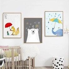 Cute Girl Polar Bear Elephant Fox Rain Red umbrella Canvas Painting Art Typographic Poster Picture Wall Children Room Decoration