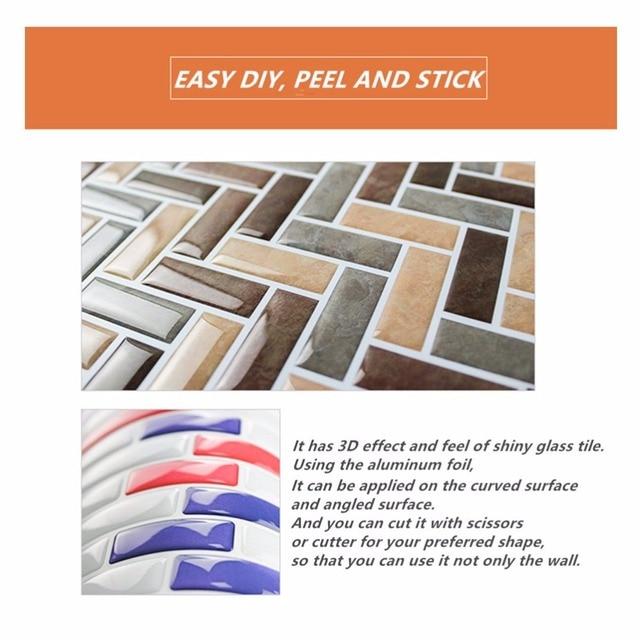 Self Adhesive Mosaic Tile Wall decal Sticker DIY Kitchen Bathroom Home Decor Vinyl W4 6