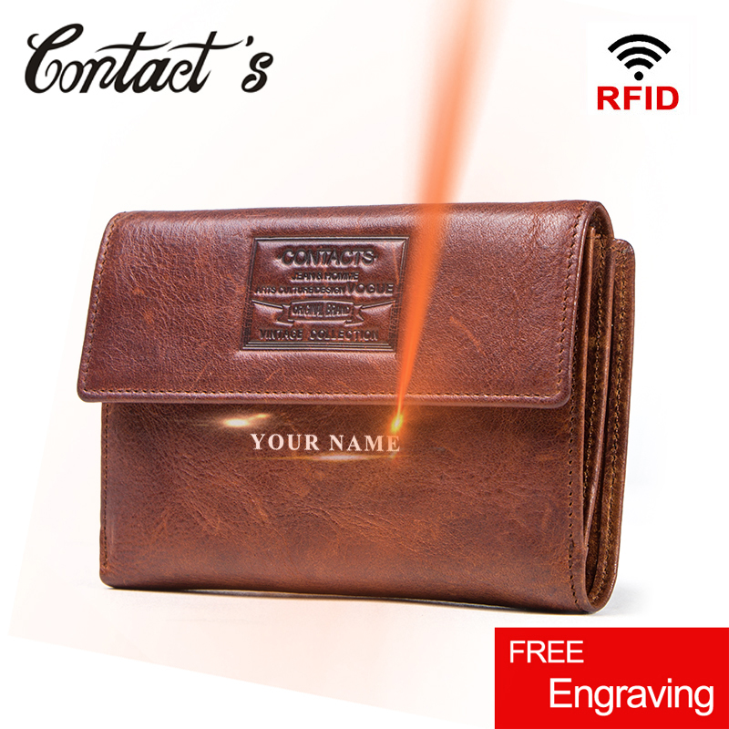 Contact's Genuine Leather Wallet Men Coin Purse Hasp Design Wallets Short Male Money Bag Large Capacity Card Holder Clutch Rfid