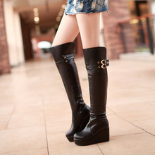 HOT!! 2015 New Women's Sexy Wedges High Heels Boots Shoes Fashion Ladies Genuine Leather Knee High Knight Boots Botas AL-113