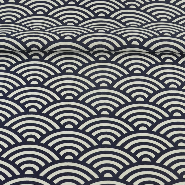 Booksew 100% Cotton Fabric Navy and White Sewing Sector Designs ...