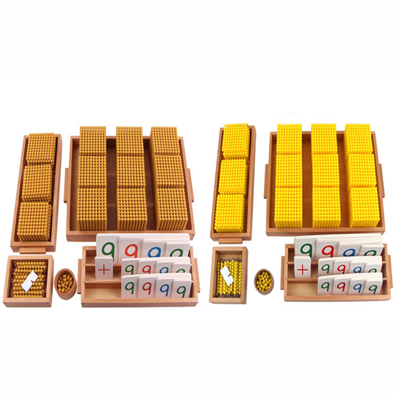 Montessori Mathematics Instruments Decade Bank Games Wood Toys Kindergarten Early Childhood Education Toys Golden Bead Toys