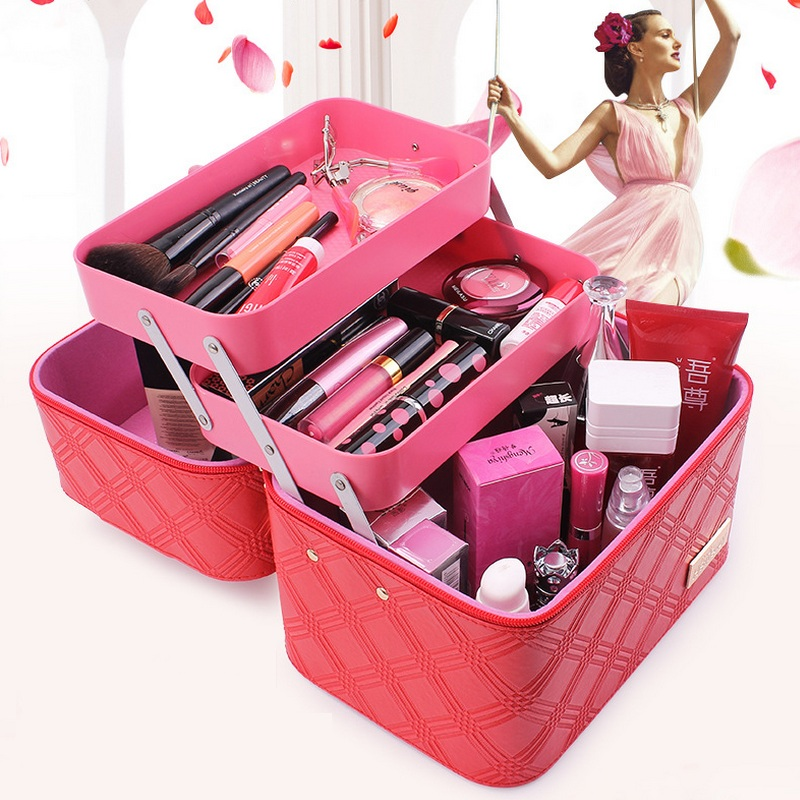 2017 Large Capacity Solid Portable Folding Layers Waterproof Organizer Cosmetic Bag Case Professional Make Up Toiletry Suitcase hhyukimi professional makeup organizer large capacity three layers oxford cosmetic case bag high quality disassembly suitcase