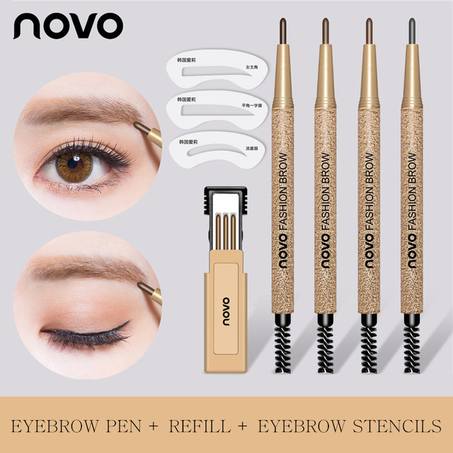 3pcs/lot NOVO Brow Makeup Set Eyebrow Pen + Refill + Eyebrow Stencils 4 Color Optional Long Lasting Eye Brow Pencil 1