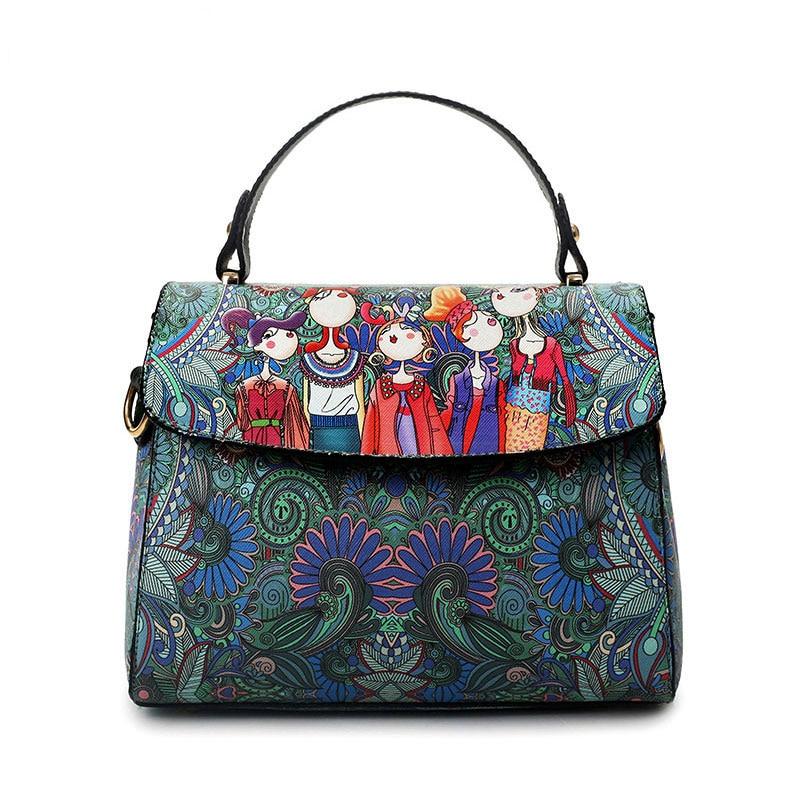 YQYDER 2017 Designer Luxury Brand PU Leather Bolsas Femininas Women Bag Ladies Green Character Handbag Shoulder Bags Female Tote