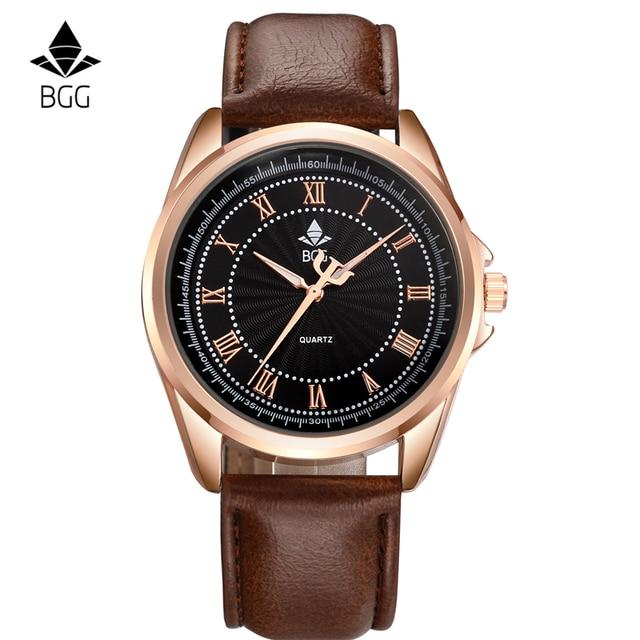Reloj de cuarzo para hombre relojes de primeras marcas de lujo de cuero de moda correa de reloj masculino relogio del reloj masculino reloj de los hombres ocasionales BGG salvado