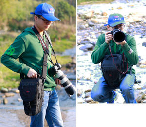 Image 2 - DSLR حقيبة كاميرا حقيبة يد عدسة المقربة الحقيبة مقاوم للماء متعددة الوظائف لكانون نيكون سوني 70 200 مللي متر 2.8 ، 80 400 100 400 مللي متر