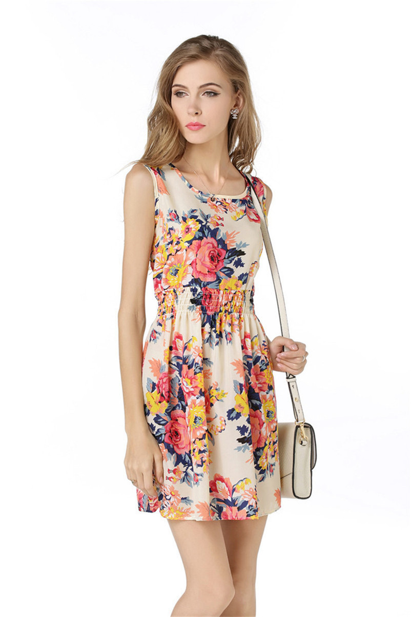 Woman Beach Dress Summer Boho Print Clothes Sleeveless Party Dress Casual Short Sundress Floral Dress Peacock Feathers Dresses (3)