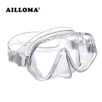 8dfaaa831c AILLOMA buceo profesional la máscara de una-pieza lente deportes Snorkel  Anti-niebla deportes acuáticos equipo de natación de silicona gafas