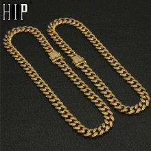 Hip Hop Iced Out Miami Curb Full Rhinestones Cuban Chain Necklace Gold Paved CZ Bling Necklaces For Men Jewelry 24inches