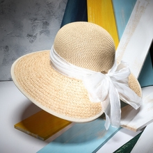 Women Elegant Sun Hats 2017 Brand New Summer Natural Raffia Wide Brim Beach Hat White Bowknot Sombrero Female