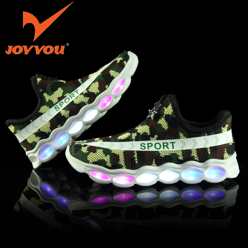 JOYYOU Brand USB Children Glowing Luminous Boys Girls Sneakers With Light Up Led School Footwear illuminated Teenage Kids Shoes 25 40 size usb charging basket led children shoes with light up kids casual boys