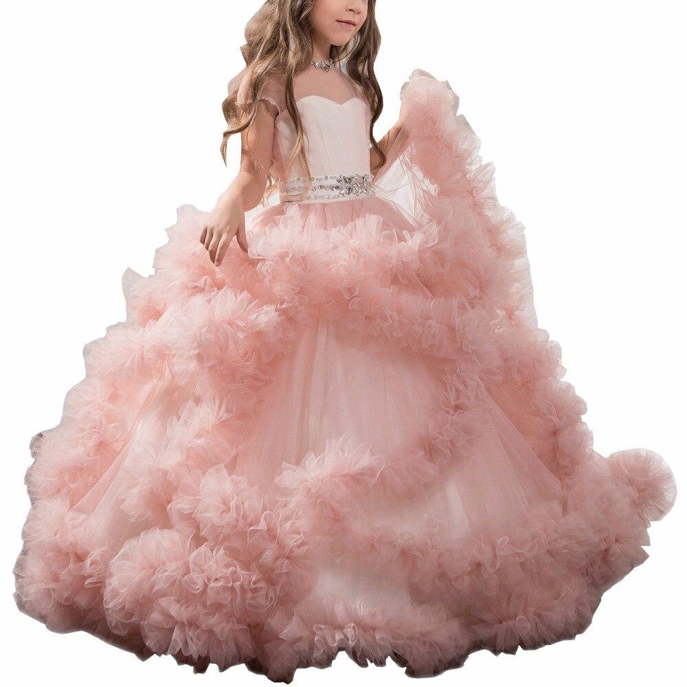 ZYLLGF Puffy filles robes de reconstitution historique longue Tulle Blumenmadchen Kleid robe de fille perlée pour mariage avec ceinture FP29