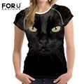Forudesigns negro 3d cat mujeres de la camiseta camisa corta camiseta brand clothing kawaii mujer camisas ropa de fitness camiseta femme 2017