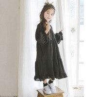 Cotton Maxi Long Big Little Girl Dress 2017 Autumn Long Sleeve Loose Kids Black Princess Dress