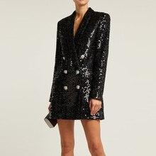 높은 품질 패션 2019 디자이너 블레 이저 여성 더블 사자 단추 목도리 고리 반짝이 Sequined 긴 활주로 블랙 블레 이저