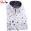 Men Brand Floral Casual Shirts 2017 New Autumn Long Sleeved Turn-Down Collar Man Dress Shirt Plus Size Men Cothes YN007