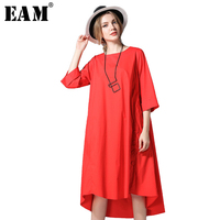 EAM 2018 Spring New Pattern Fashion Solid Color Side Vent Hem Pure Cotton Half Sleeve