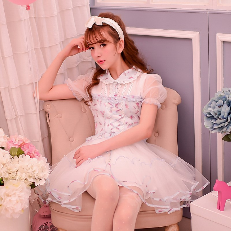 Princess sweet lolita dress Candy rain summer new cute sweet princess patchwork Net yarn floral chiffon