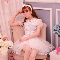 Princess sweet lolita dress Candy rain summer new cute sweet princess patchwork Net yarn floral chiffon dress W32