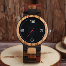 Vintage Full Wood Watch Male Unique Mixed Color Wooden Band