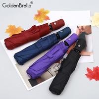 Gloednieuwe Creatieve 3 Fold Licht Automatische Paraplu Regen Mannen Vrouwen Wind Slip Mannen 4 Kleuren handvat Paraplu Groothandelsprijs