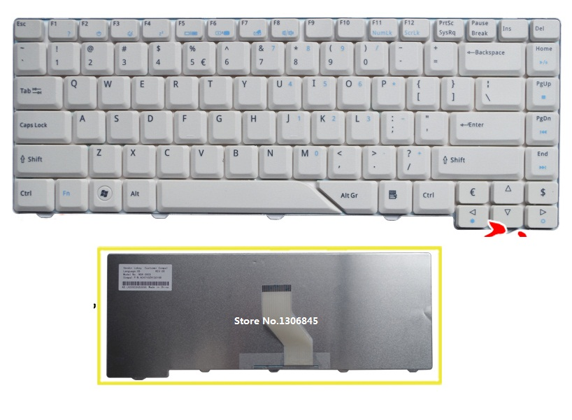 SSEA New US Keyboard white For <font><b>Acer</b></font> <font><b>Aspire</b></font> 4210 4220 4520 4710 4720 <font><b>4920</b></font> 5220 5310 5520 5710 5720 5910 5920 5930 6920 image