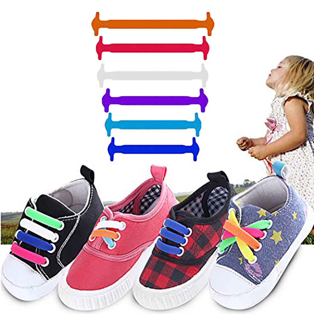 64f2fc038 пара Детские эластичные силиконовые шнурки кроссовки без галстука шнурки  детская обувь шнурки