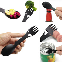 Multifunctional Camping Cookware Spoon Fork Bottle Opener Portable Tool  Outdoor survive spoon fork-cashback