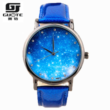 2016 New Style Watch Girls Star and Sky Sample Rhinestone Informal Quartz Watch Girls Common Leather-based Strap Elegant Wristwatch