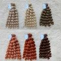 5 PÇS/LOTE Hot Brown/Louro/Cor Natural Encaracolado BJD Peruca Boneca DIY Acessórios de Cabelo 18 CM