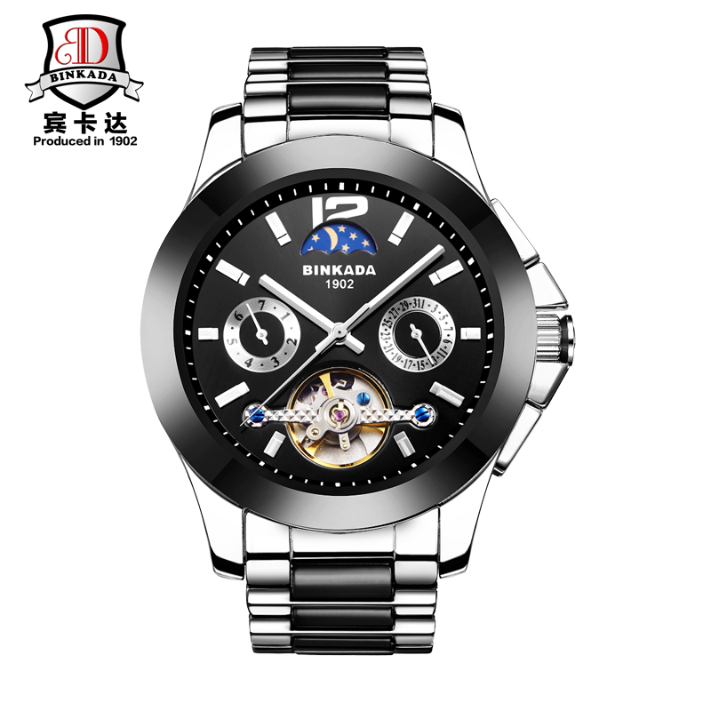 2016 Men's BINKADA Brand Luxury Ceramic Automatic Watch men Fashion Casual Moon Phase Business Wrist Mechanical Wristwatches все цены