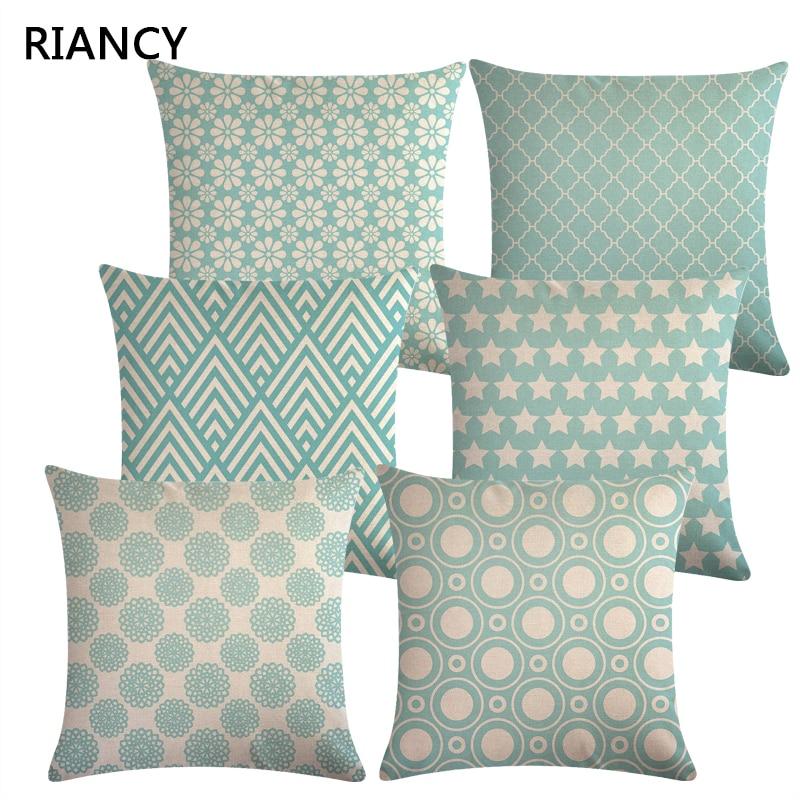 Blue Geometric Sofa Decorative Cushion Cover Pillow Pillowcase Linen 45*45 Throw Pillow Home Decor Pillowcover 40603