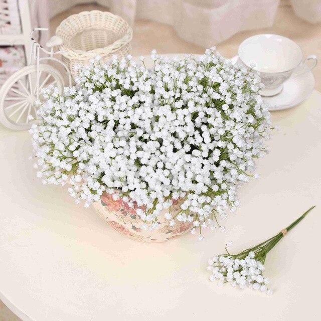 54 Głowice 6 Wiązki Sztuczne Kwiaty Białe Wesele Kwiaty Pu Fałszywe