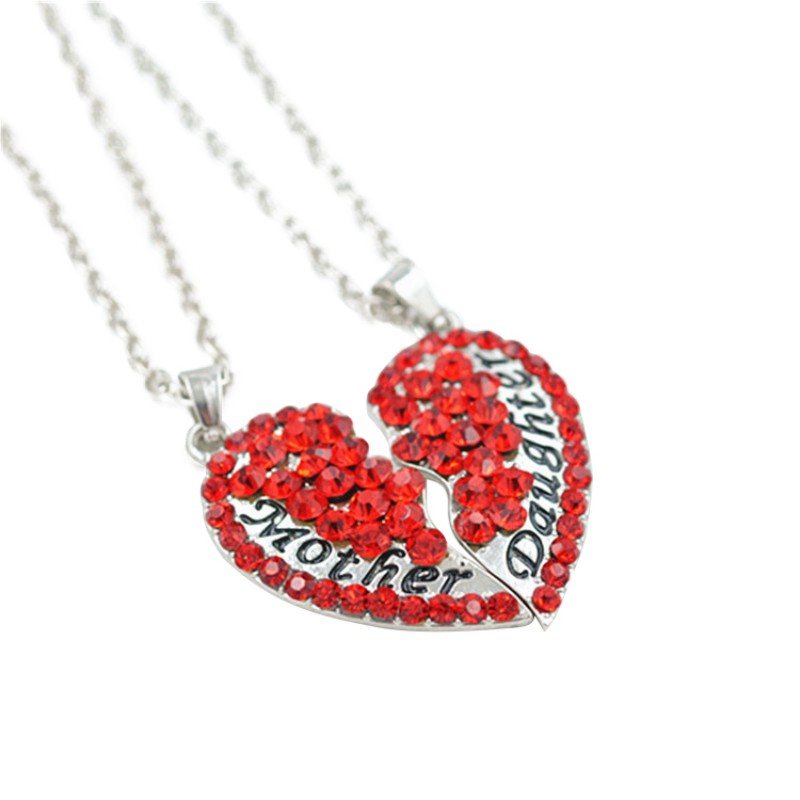 Heart Shaped Pendant Necklace Set Fashion Full Rhinestone Heart Pendant Necklace Mother Daughter Letter Jewelry For Family Gifts ...