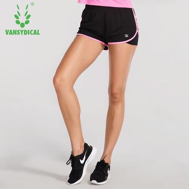 21a84504b Mujeres corta Pantalones cortos para correr doble capa fitness Workout Pantalones  cortos 2 en 1 gimnasio