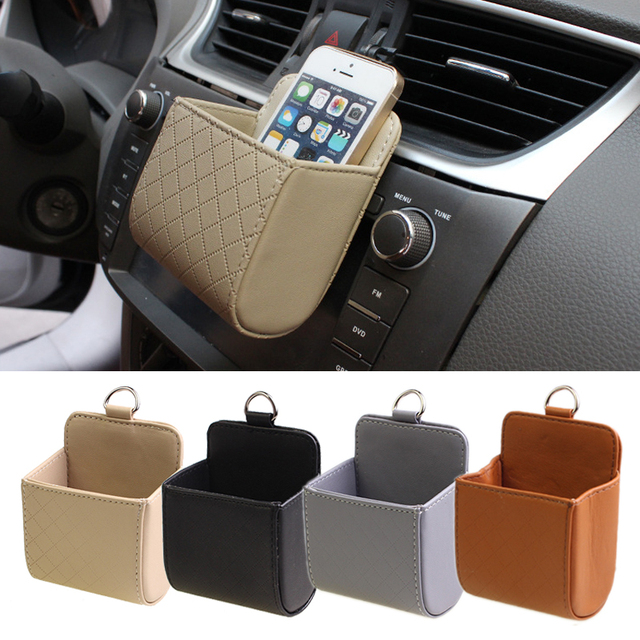 E Show 1pcs Car Air Vent Outlet Leather Hanging Sundries Storage Bag Pocket Cell Phone