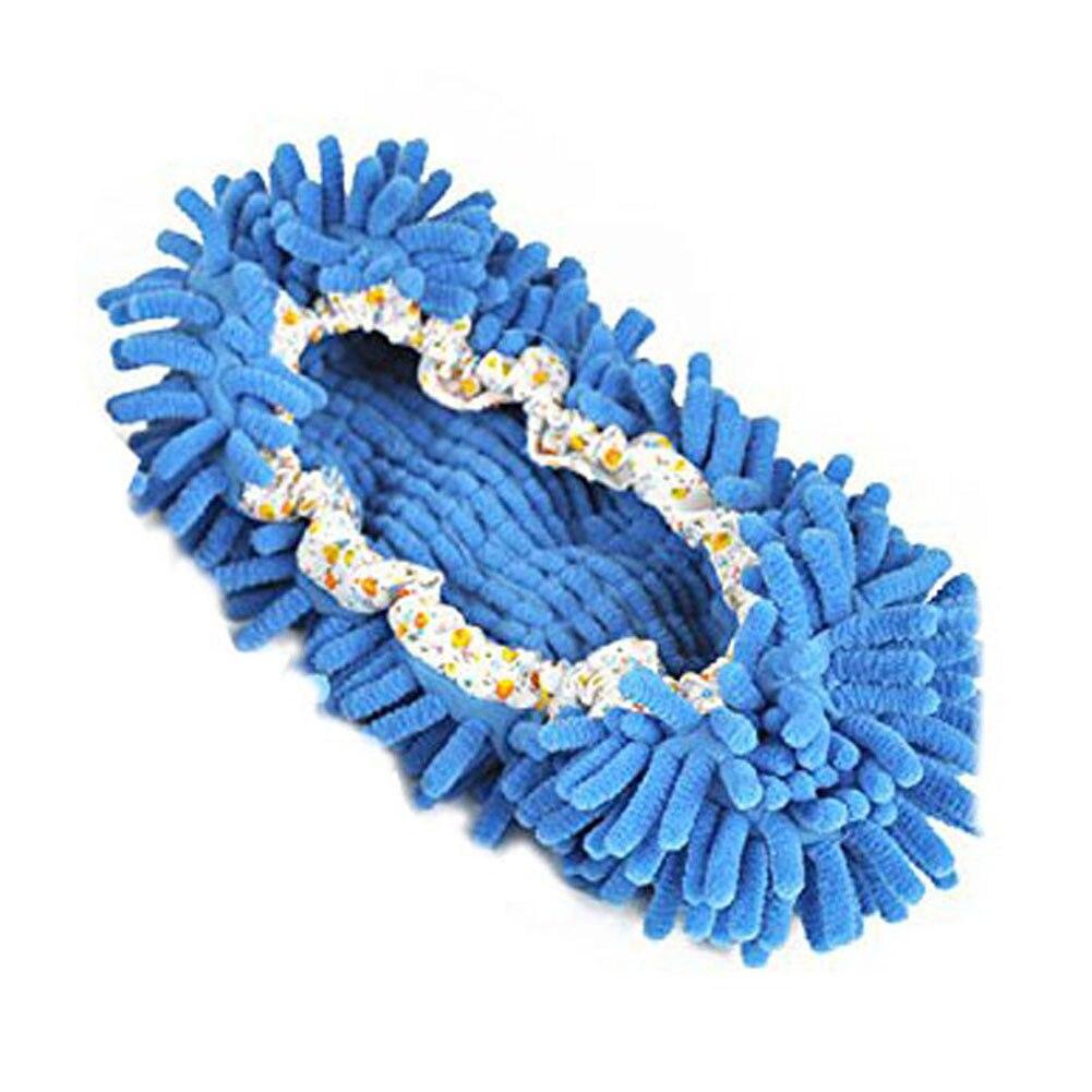 VSEN 2pcs 1 Pairs Comfortable Dust Mop Slippers Shoes Floor Cleaner-Blue 2pcs blue