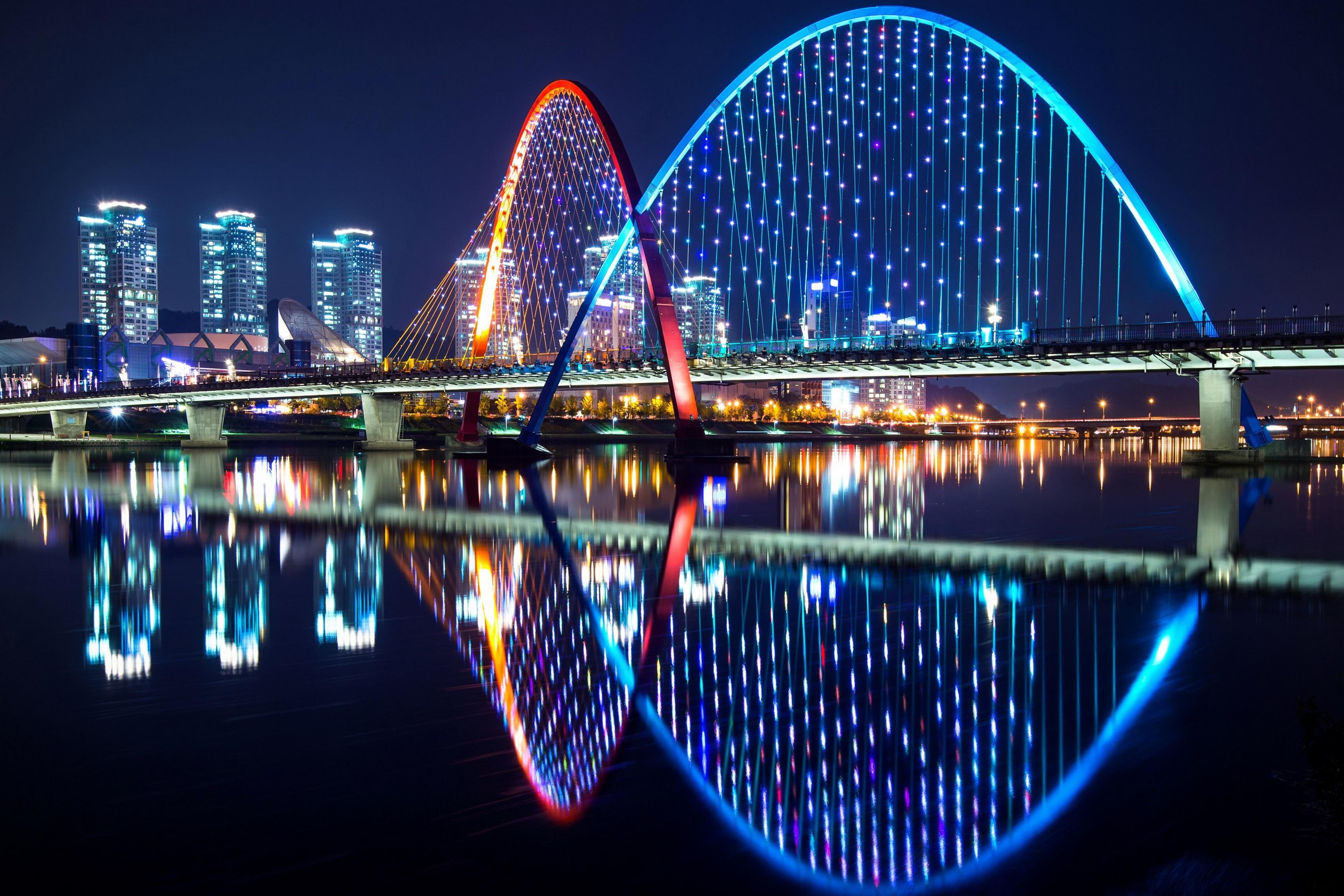 Home decoration South Korea Daejeon bridge river night lights home skyscrapers landscape Silk Fabric Poster Print 408FJ