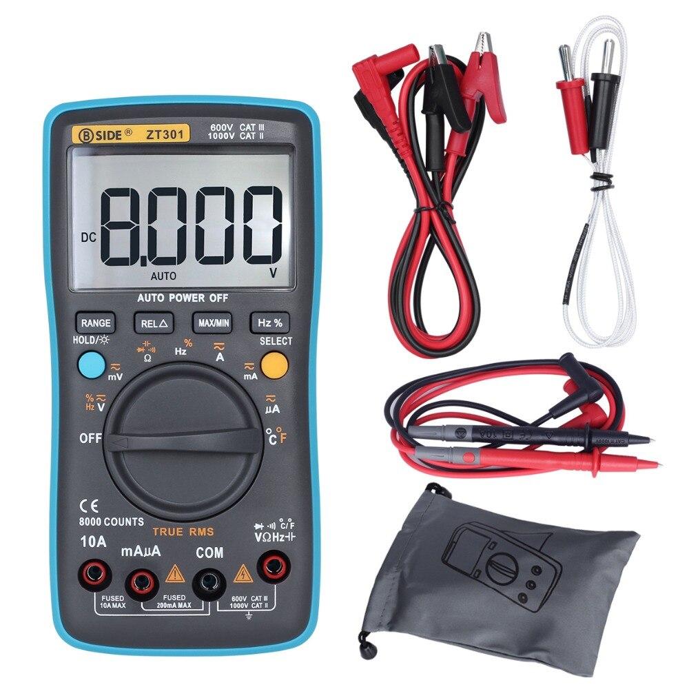 BSIDE ZT301 ZT302 RMS multímetro Digital 8000 9999 cuentas multifunción AC/DC voltaje temperatura capacitancia Tester DMM