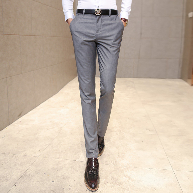 Men's Clothing 2019 Hot Mens Suit Trousers Male High Quality Pure Color Slim Fit Business Suit Pants Male High-end Leisure Thin Leg Pants