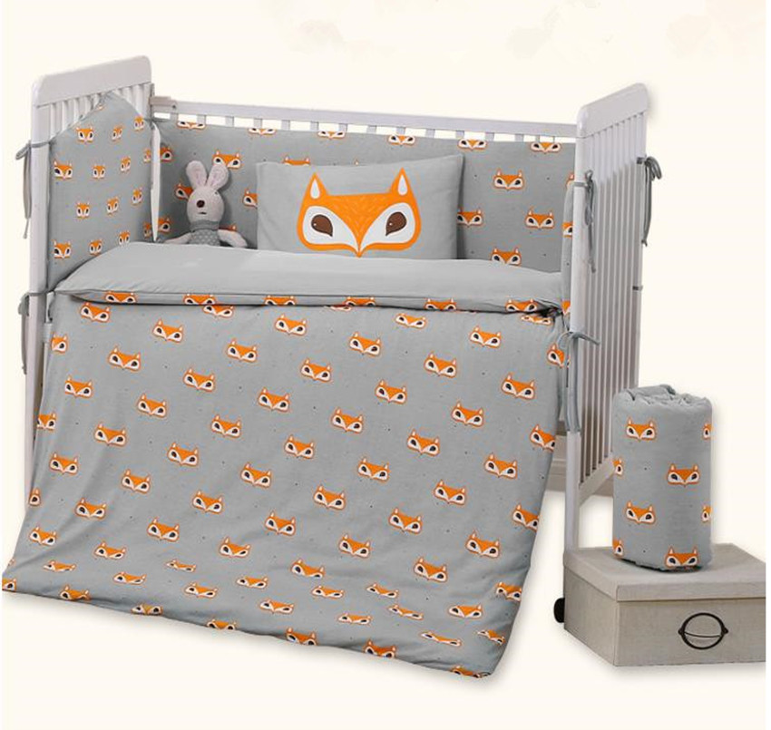 Baby Bedding Set Bumper Cotton Soft Detachable Bed Sets Qulit Cover Cot Sheet Pillow Case Cartoon Fox Pattern Knit Baby Bedding