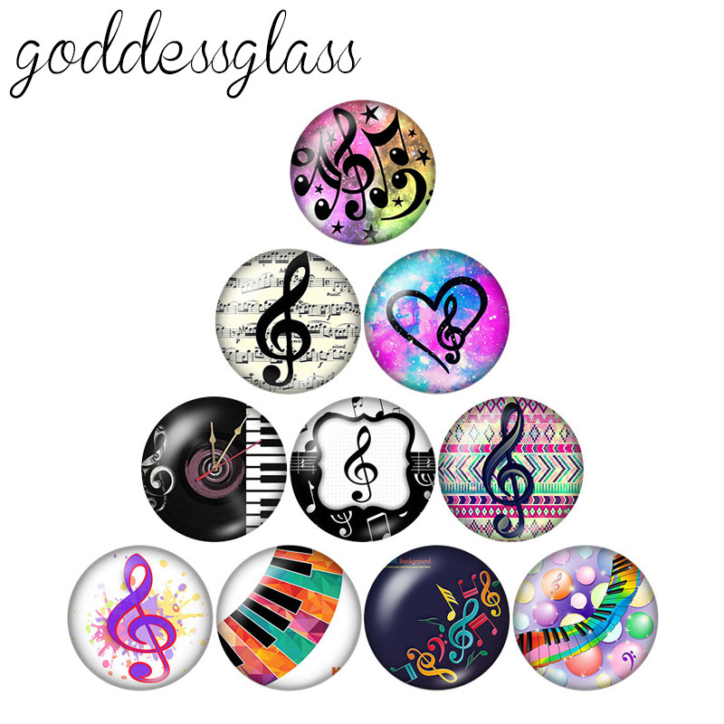 New Music Notes Beauty 10pcs 12mm/18mm/20mm/25mm Round Photo Glass Cabochon Demo Flat Back Making Findings ZB0680